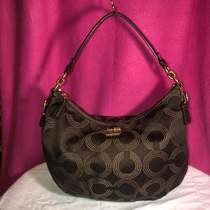 Coach Madison Dotted Op Art Hobo Purse